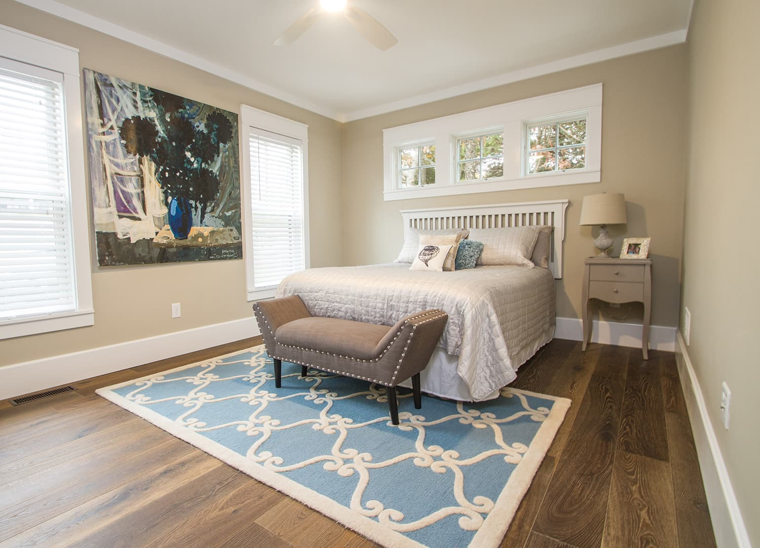 Esplanade Floors featured in one of the bedrooms of the Bay Side Beach House