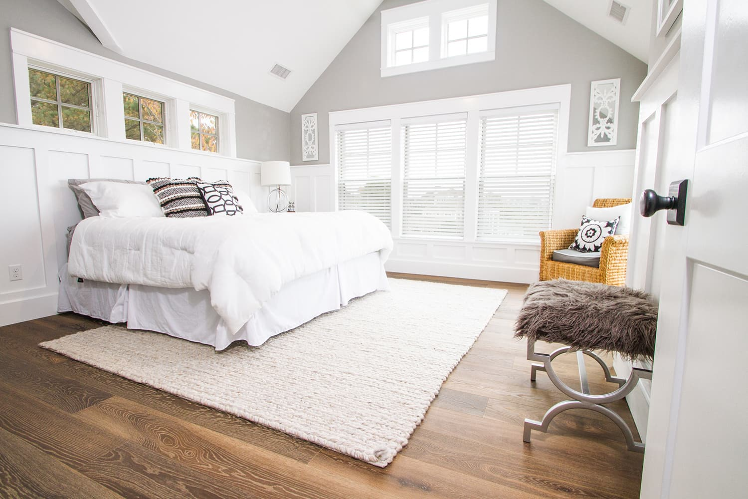 White Bedroom in the Bay Side Beach House with Esplanade Floors