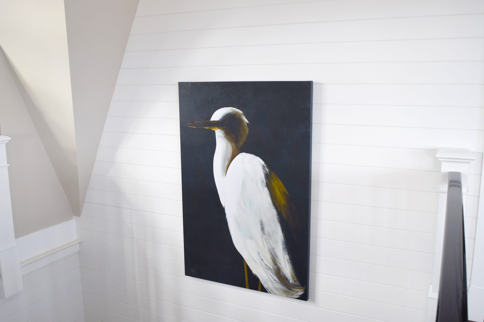 Bay Side Beach House Shiplap Walls with Cape Cod Bird Painting