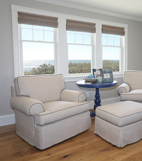Seaside Paradise Lounge Chairs in Living Room with Ocean View