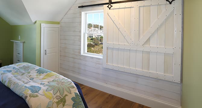 Featured Installation Seaside Paradise Shiplap Bedroom with Sliding Barn Window and Chestnut Hill