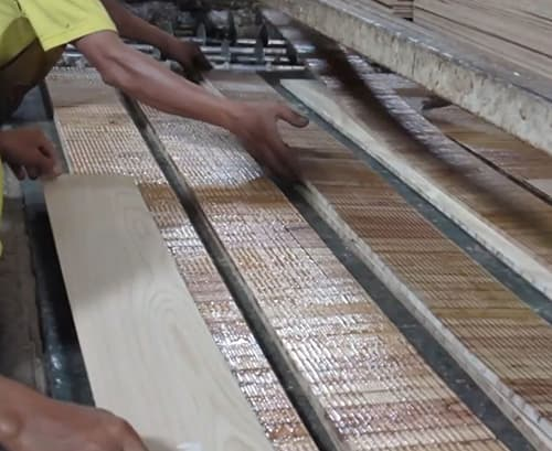 Building Structured Flooring, Sawyer Mason Wide Plank Flooring - Core and Face Veneer Lamination Prep