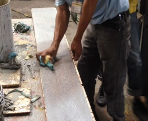 Building Structured Flooring, Sawyer Mason Wide Plank - Reactive Stain Process, Wiping Excess Stain