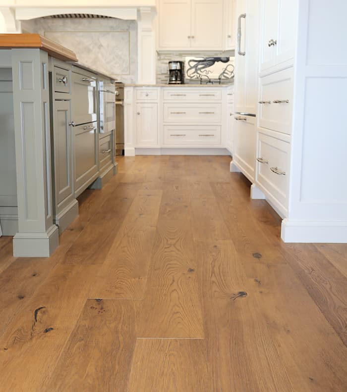Seaside Paradise Chestnut Hill Wide Plank Floors installed in Kitchen