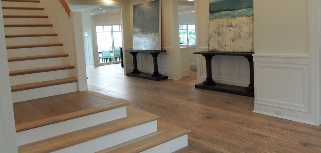 Wire Brushed Oak Flooring Miacomet installed near staircase
